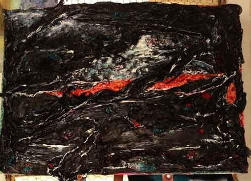 פרייה קווהזי- טכניקה מעורבת-שקיות ניילון שחורות, חום, סיליקון