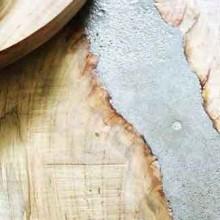 סדנאות יצירה לבית: שולחנות וכלים:שילוב של עץ ובטון